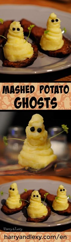 If you're looking for healthy and nutritious Halloween recipes but still want to treat yourselves, you can make these adorable mashed potato ghosts.