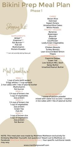 Bikini Prep Meal Plan: Phase 1 - Manifest Yourself