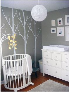 white and gray nursery, stokke crib baby-nursery