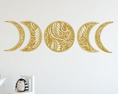 Moon Phases Wall Decal Moon Phase Decor Celestial Wall Art   Etsy Kids Room Wall Stickers, Wall Decals For Bedroom, Tree Design On Wall, Hanging Stained Glass, Moon Decor, Star Wall, Stars And Moon, Sun Moon, Moon Phases