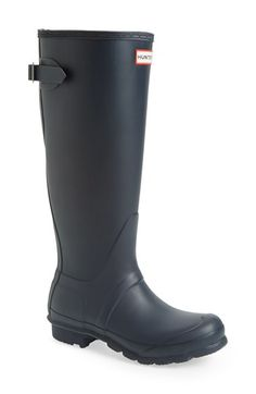 Free shipping and returns on Hunter Adjustable Back Boot (Women) at Nordstrom.com. Face the drizzliest of days in fearless fashion with these classic rain boots from Hunter. With their seamless, waterproof shell and grippy sole, as well as a cushioned footbed and adjustable, buckled strap, you'll be able to greet those puddles with gusto.