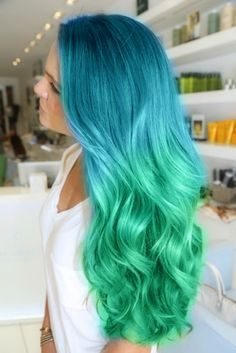 blue green mermaid hair. Long blue and ombré green tips. Dyed. Color. Colour.