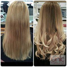 Sara hat bei ihrer Kundin einen wunderschönen, soften Ombré look gezaubert. Die Ansätze wurden zunächst in einem satten, sandigen Blond coloriert. Ausserdem wurden die Längen und Spitzen mit einer Balayage Strähnen Technik ganz soft aufgehellt. In allen Rezepturen hat Sara zum Schutz der Haare Olaplex verwendet. #lorealprode #unichairlounge #vorhernachher #beigeblonde #naturelhaircolor #naturalblonde #beautyfull #newhair #colorfade #beunic #dülken #olaplex #olaplexlove #olaplexdeutschland