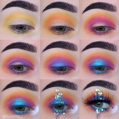 Evening Smokey Eye Makeup Tutorial, make up mirror always lights up when makeup revolution star prim Makeup Eye Looks, Eye Makeup Steps, Smokey Eye Makeup Tutorial, Cute Makeup, Gorgeous Makeup, Simple Eyeshadow Tutorial, Bright Eyeshadow, Eyeshadow Makeup, Eyeshadows