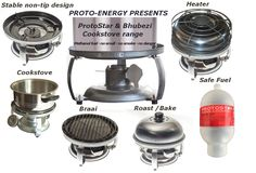 Introducing the Protostar and Bhubezi Cookstove range and accessories. Methanol Fuel, Portable Stove, Pellet Stove, Cooking Stove, Rocket Stoves, 5 Hours, Kitchen Aid Mixer, Canisters, Tray