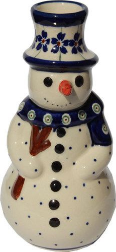 Polish Pottery Snowman From Zaklady Ceramiczne Boleslawiec
