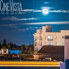 Halloween Full Moon by CineVistaMedia. This original photo is from downtown Fort Myers, FL looking east. It was taken the night before halloween during a full moon.