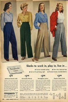 Trouser Tuesday! Menswear influence in womens fashion. 1940s.
