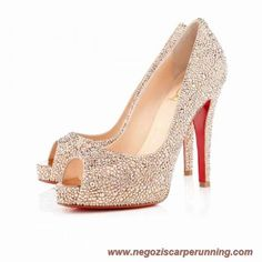 scarpe da calcetto Very Riche 120mm Strass Nude Christian Louboutin Donna