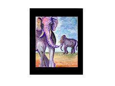 Elephant Decor Elephant Art Print by PrintedPaintingLady on Etsy