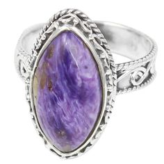 Charoite 925 Sterling Silver Ring Jewelry Size- 7 SR-1081 #Allisonsilverco