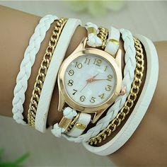5a225fab913 Barato Pulseira de couro relógios de quartzo moda pulseira de couro relógio  mulheres vestido relógios Reloj