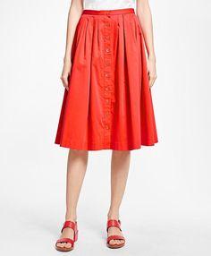 Flared Cotton Sateen Skirt