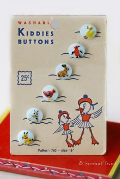 Vintage Glass Children's Buttons on Original Card | by Second Twirl