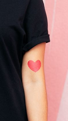 It doesn't get much simpler than this: a little red heart to express your love. No one loves hearts more than Team Tattly member Bekka Palmer. Circle Tattoos, Fake Tattoos, Little Red, Love Heart, Make Up, Classic, Ink, Fur, Tatuajes
