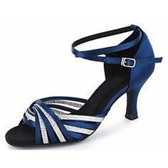 Satin et en suscitant des paillettes de danse Chaussures pour femmes personnalisés pour les sandales latine / Salle de bal – EUR € 32.99