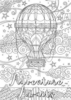 Adventure Awaits Printable Adult Coloring PagesColoring