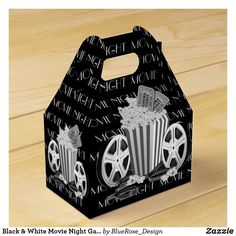 Black & White Movie Night Gable Favor Box About Time Movie, Feeling Special, Favor Boxes, Christmas Card Holders, Hand Sanitizer, Corporate Events, Keep It Cleaner, Colorful Backgrounds, Card Stock