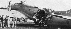 This B-17 took a direct flak hit in the waist over Debrecen, Hungary which killed three crewmen and wounded two others. Threatening to come apart in mid-air the pilot nursed it home to a safe landing, but the weakened fuselage collapsed on touchdown.