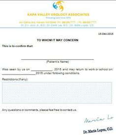 Each Doctors Note For Work Is Designed To Satisfy Need Of A Patient To  Return To Work Or School With This Note.