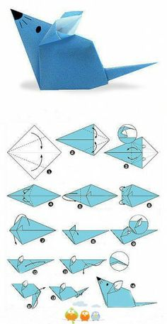 Oct 2016 - How to make an Origami Mouse. Origami Mice Pattern for kids. Cute Paper Mouse craft for kids. Chinese New Year Year of the Rat! Origami Design, Dragon Origami, Instruções Origami, Origami Simple, Origami And Kirigami, Origami Ball, Paper Crafts Origami, Origami Stars, Diy Paper