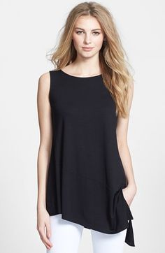 Eileen Fisher Bateau Neck Sleeveless Tunic (Regular & Petite) available at #Nordstrom.  Just a great clean chic look.