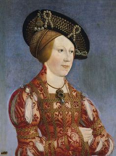 1520 Anne of Bohemia and Hungary by Hans Maler-EXCERPT:'Queen Anne's dress includes slashed sleeves, a jeweled bodice, jeweled sleeves, and a high collar. She wears a jeweled hat over one or two cauls.'
