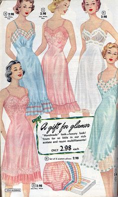 Mid 1950 full slip ad is just so alluring for me. I am such a softee for satiny full slips!