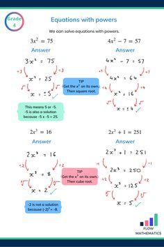 Solving equations with powers Maths Exam, Maths Algebra, Gre Math, Math Math, Math Multiplication, High School Writing, Middle School, Physics And Mathematics, Mathematical Logic