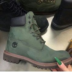 This green Timberland boot is very very very good looking. for other shades in footwear. Heeled Boots, Bootie Boots, Shoe Boots, Shoes Heels, Vans Shoes, Sock Shoes, Cute Shoes, Me Too Shoes, Dream Shoes