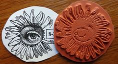 RARE! Teesha Moore VINTAGE Zettiology EYE OF THE FLOWER Unmounted Rubber Stamp