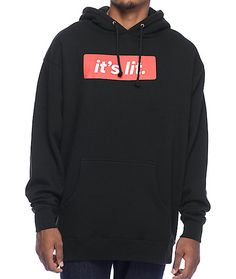 Turn up with your crew with the black It's Lit hoodie from Artist Collective. You know you'll have a good time when your style is at 100 with this comfy, trendy sweatshirt.