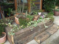 枕木で作られた花壇。 好きな植物を寄せ上したり、植木鉢をおいて立体感を作ったりしてもたのしめます。