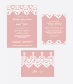 Custome Lace Wedding Invitation suite