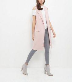 Shell Pink Double Pocket Sleeveless Jacket | New Look