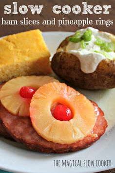 """This Slow Cooker Ham Steaks and Pineapple Rings turned out amazing. I was thumbing through one of my favorite cookbooks """"The Whistle Stop Cafe"""" Crock Pot Slow Cooker, Crock Pot Cooking, Slow Cooker Recipes, Crockpot Recipes, Cooking Recipes, Amish Recipes, Dutch Recipes, What's Cooking, Retro Recipes"""