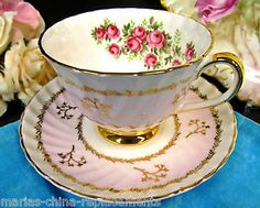 ADDERLEY TEA CUP AND SAUCER PINK & GOLD FLORAL PATTERN TEACUP