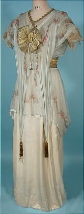 """c. 1912 """"Titanic"""" Edwardian Gown of Ivory Silk, Gold Lame and Floral Chiffon!"""