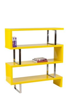 Santoni Lacquered 3-Tier Bookshelf - Yellow by PANGEA/home on @HauteLook