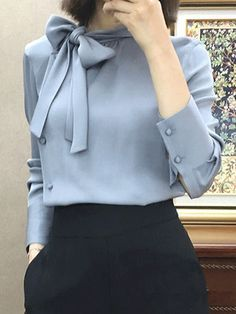 Autumn Spring Women Tie Collar Plain Long Sleeve Blouses - C Dress Shirts For Women, Blouses For Women, Ladies Blouses, Women Ties, Business Attire, Business Suit Women, Business Fashion, Mode Outfits, Office Outfits