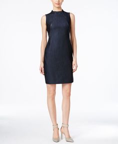 Calvin Klein Sleeveless Denim Sheath Dress