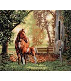 Dimensions Gold Collection Mare & Foal Counted Cross Stitch Kit