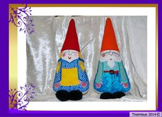 Maurice and Mathilda are now available as a quick to stitch embroidery design. They make a cute couple as cushions, pin cushions or even as a baby/childs cuddly toy. Both Maurice and Mathilda are included in the instant multi format download file. Machine formats available are PES, DST, VIP, HUS, EXP and JEF. Maurice and Mathilda also feature on a quilt set also available from this shop.   https://www.etsy.com/au/listing/118096931/garden-gnomes-large?ref&#x3...