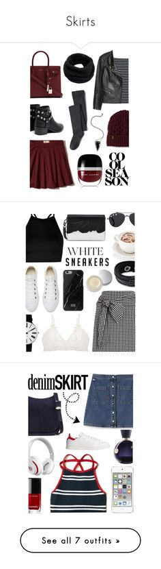 """Skirts"" by lostandfound92 ❤ liked on Polyvore featuring Yves Saint Laurent, Hollister Co., Miss Selfridge, H&M, Lands' End, Senso, Dr. Martens, Helmut Lang, Pamela Love and Marc Jacobs"