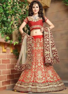 Beige Red Embroidery Resham Work Silk Net Designer Wedding Lehenga Choli http://www.angelnx.com/Lehenga-Choli/Wedding-Lehenga-Choli