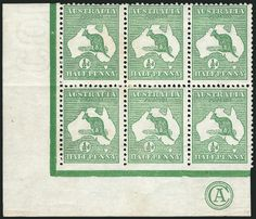 "A block of six stamps from Australia's famed ""Kangaroo"" first issue has sold at the top of Robert A Siegel Auction Galleries' dedicated sale, held on Octob Australia Kangaroo, Rare Stamps, Stamp Collecting, Postage Stamps, Empire, British, Stamps, British People"
