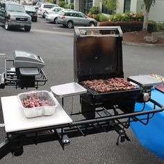 Grilling kebabs on the StowAway Hitch Grill Station.