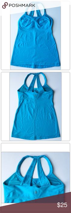 Lululemon Blue Workout Tank Top Lululemon  Blue Workout Tank Top No size dot but fits like a size 6  Pre-owned condition. lululemon athletica Tops Tank Tops