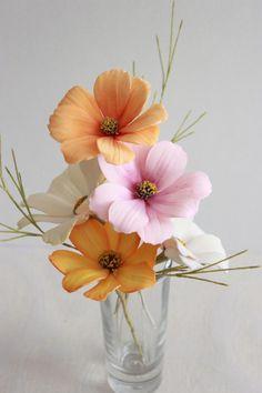 Gumpaste Cosmos Flowers by Kiara's Cakes