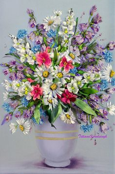 Cuadro bordado El Jarrón con las flores 4